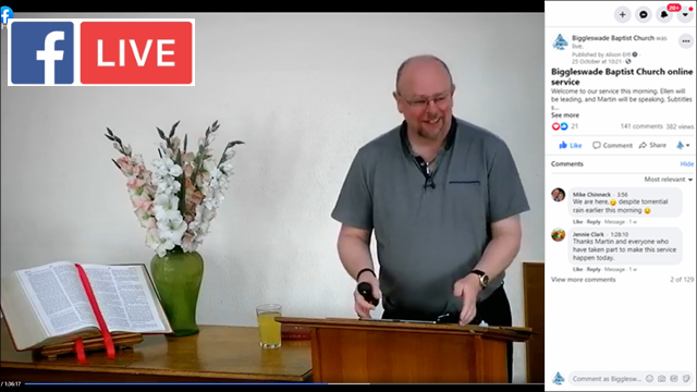 Screen shot of Facebook Live service with Martin Speaking